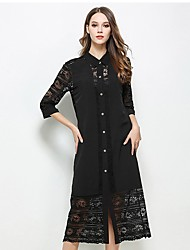 Women's Casual/Daily Simple Tunic Dress,Patchwork Lace Shirt Collar Midi ¾ Sleeve Polyester Black Spring Summer Mid Rise Micro-elastic