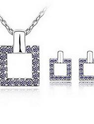 Schmuck 1 Halskette 1 Paar Ohrringe Kristall Party Aleación 1 Set Damen Weiß Blau Lila Rosa Himmelblau Hochzeitsgeschenke