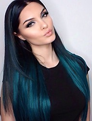 T1b/Blue Ombre Glueless Full Lace Wigs for Black Women Brazilian Virgin Hair Silky Straight Lace Wigs with Baby Hair