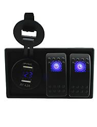 dc 12v / 24v bleu numérique conduit conduit 4.2a usb socket adaptateur voltmètre avec interrupteur à bascule à bascule fils volants et