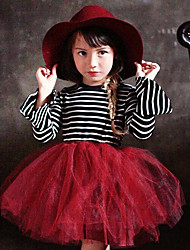 Girls Stripe Horn Sleeve Lace Stitching Long-sleeved Dress