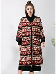 Damen Druck Street Schick Anspruchsvoll Ausgehen Mantel,Herbst Winter Kapuze Langarm Auf Links waschen Trocknen StandardBaumwolle