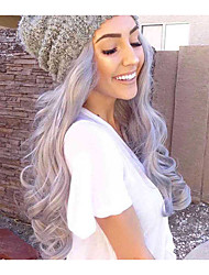 Grey Lace Front Wig Wave Long Fashion Daily Popular Synthetic Lace Front Wig High Quality Cheap