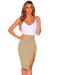 Women's Khaki Gold Chain Slit Skirt