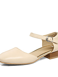 Sandals Summer D'Orsay & Two-Piece Leatherette Dress Casual Low Heel Buckle Hollow-out Black Pink Beige Other