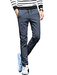 Masculino Tamanhos Grandes Delgado Chinos Calças Esportivas Calças-Cor Única Casual Trabalho Simples Moda de Rua Cintura Baixa Com Cordão