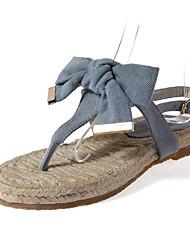 Feminino-Sandálias-Sapatos clube-Rasteiro-Azul-Jeans-Social Casual