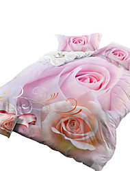 Neuartig Bettbezug-Sets 4 Stück Polyester 3D Reaktivdruck Polyester ca. 1,50 m breites Doppelbett4-teilig (1 Bettbezug, 1 Bettlaken, 2