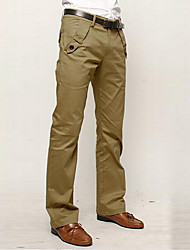 Men's Mid Rise Micro-elastic Business Pants,Simple Street chic Punk & Gothic Straight Solid