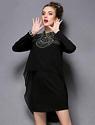 AOFULI Fashion Women Vintage High Bead Long Sleeve Plus Size Loose Asymmetric Dress