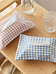 Storage Boxes Textile with Canvas Tissue Box  Plaid Tissue Bag Random Colors