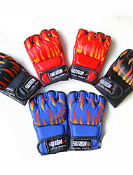 Boxing Gloves Fingerless Gloves Unisex Breathable Wearable Tactical Protective Boxing PU Red Black Blue