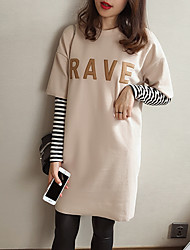 Fake two stitching dresses 2017 spring new women loose primer letter stripe t-shirt dress