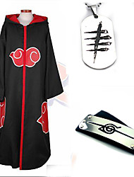 Inspired by Naruto Akatsuki Anime Cosplay Costumes Cosplay Suits Cosplay Accessories Solid Black Long Sleeve Cloak More Accessories For3PCS