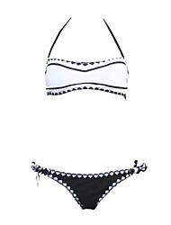 Women's Bandeau Tankini,Geometric Nylon / Polyester White