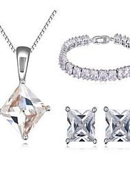 Kubikzirkonia Zirkon Weiß 1 Halskette 1 Paar Ohrringe 1 Armreif Für Party 1 Set Hochzeitsgeschenke