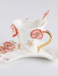 1PC  European Porcelain Flowers Coffee Cup Ceramic Cup Home Office Suit