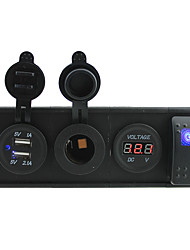 DC 12V/24V led power voltmeter 3.1A USB port Sockets with rocker switch jumper wires and housing holder