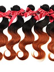 """Evet 1 часть лота 8 """"-28"""" # 1bt # 30 перуанских девственных волос тела волна два тона ombre человеческих волос переплетение пучки"""
