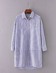 Women's Going out Beach Holiday Simple Street chic Sophisticated A Line Loose Shirt Dress,Striped Ruffle Shirt Collar Above KneeLong