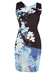Women's Casual/Daily Work Sexy Vintage Bodycon DressPrint V Neck Above Knee Sleeveless Polyester Blue Spring Summer Mid Rise Stretchy Print Randomly