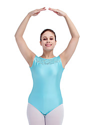 Ballet Leotards Women's Children's Training Nylon Lace Lycra Buttons Lace 1 Piece Sleeveless Leotard