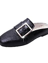Women's Slippers & Flip-Flops Summer Comfort PU Casual Flat Heel Hollow-out Black Silver Gold Walking