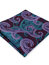 BH15 Mens Hanky Burgundy Multicolor Paisley 100% Silk Business Casual Jacquard Woven For Men