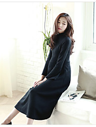 solide robe en tricot de couleur femmes enceintes mode shirt col robe manches trompette mince korean mère marée