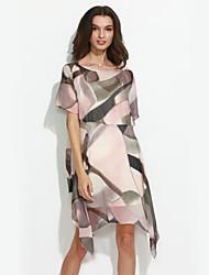 Ample Robe Femme Décontracté / Quotidien Grandes Tailles simple,Géométrique Col Arrondi Au dessus du genou Manches Courtes Rouge Polyester