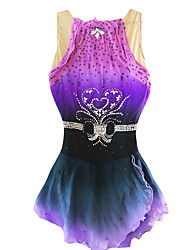 Robe de Patinage Robe de patinage artistique Protectif Perles Paillété Spandex Chinlon Violet Tenue de PatinageVêtements de Plein Air