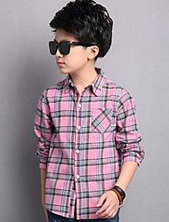 Boy Casual/Daily Plaid Shirt,Cotton Spring Long Sleeve