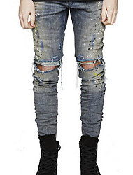 Men's Straight Jeans Pants,Casual/Daily Beach Vintage Simple Solid Ripped Low Rise Zipper Cotton Micro-elastic All Seasons