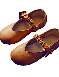 Girl's Flats Comfort Leather Outdoor Athletic Casual Brown Red Running