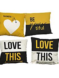 Set of 4 Modern simple English alphabet pattern Linen Pillowcase Sofa Home Decor Cushion Cover