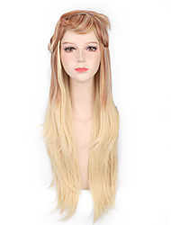 Brown Blonde Mixed Color Ombre Wig for European and American Ladies Fashion Natural Looking Heat Resistant Long Wig Hit