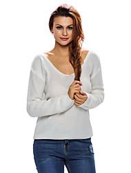 Women's Knitted Long Sleeve Plunge Jumper