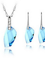 Jewelry Set Crystal Alloy Gold Black Blue Light Blue Lavender Party 1set 1 Necklace 1 Pair of Earrings Wedding Gifts