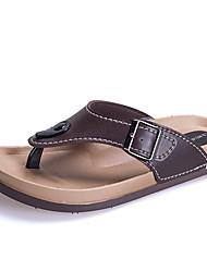 Men's Slippers & Flip-Flops Spring Summer Fall Comfort Rubber Casual Flat Heel Black Brown White