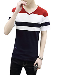 Men's Plus Size Casual/Daily Beach Cute Street chic Active Summer T-shirt,Solid Striped V Neck Short Sleeve Blue Red White Black Cotton