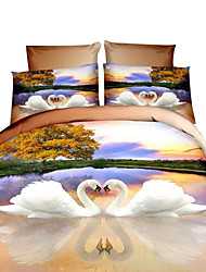 Mingjie 3D Reactive Swan And Paris Bedding Sets 4 Pcs for Queen Size Contain 1 Duvet Cover 1 Bedsheet 2 Pillowcases from China