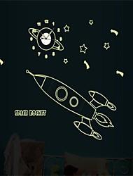 1Pcs  Children Bedroom Luminous Wall Stickers Luminous Rocket Shaped For A Wall Clock