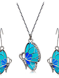 Cristal Brillante Esmalte Legierung Forma de Animal Mariposa Azul 1 Collar 1 Par de Pendientes Para Boda Fiesta Diario Casual 1 Set