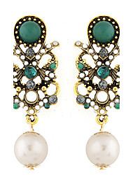 Drop Earrings Gemstone Pearl Resin Alloy Fashion Green Jewelry Party 1 pair