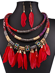 Fashion high-grade multilayer metal feathers tassel necklaces earrings set # 0234