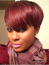 Mujer Pelo humano pelucas sin tapa Negro Vino oscuro Corto Liso Corte Pixie Corte a capas Con flequillo Parte lateral