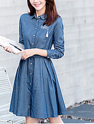 Women's Going out Casual/Daily Beach Simple Cute Active Denim Dress,Striped Tassel Shirt Collar Above Knee Long Sleeve Others BlueSpring