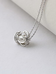 Women's Pendant Necklaces Jewelry Crown Pearl Sterling Silver Luxury European Fashion Jewelry For Daily Casual