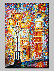 Hand-Painted Knife Oil Painting On Canvas Modern Abstract Street Lights Wall Art Picture For Home Decoration Ready To Hang