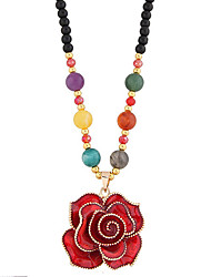 Women's Pendant Necklaces Resin Alloy Flower Flower Style Classic Fashion Purple Red Jewelry Daily Casual 1pc